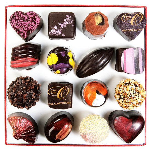16 Piece Velveteen Heart Box - exclusive French import
