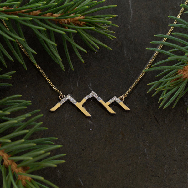 Park City Mountain Silhouette with Diamond Snow Necklace - 14K YG Diamonds