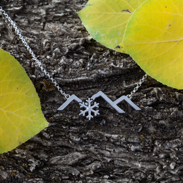 Park City Mountain Silhouette with Snowflake Necklace - Sterling Silver