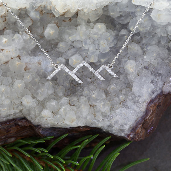 Park City Diamond Pave Mountain Necklace - 14K WG Diamonds