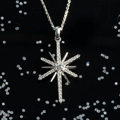 diamond star necklace 14K white gold with diamonds star jewelry stars sky necklace sky jewelry