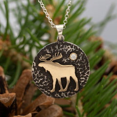 moose disk necklace sterling silver 10K yellow gold necklace moose jewelry moose necklace wild life jewelry