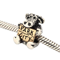 Park city moose charm moose holding park city sign moose jewelry moose pandora style charms wild life jewelry