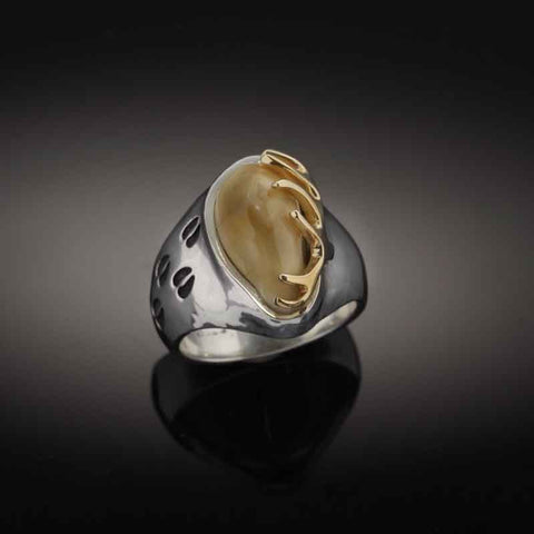 Elk tooth ring with elk tooth, hoof prints and 10K yellow gold antler - Elk Tooth Ring Elk Tooth jewelry unique designs