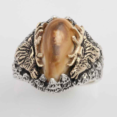 elk tooth ring with elks on the side with 10K yellow gold anlters solid sterling silver elk ring elk tooth ring elk jewelry