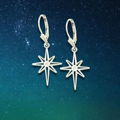 Diamond North Star earrings - star earrings diamond star - constant star earrings star jewelry sky jewelry