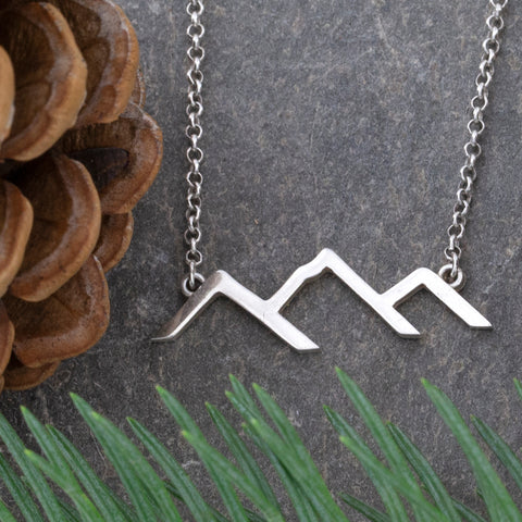 mountain line necklace sterling silver mountain necklace mountain jewelry mountain necklace