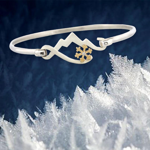 Mountain bracelet with snowflake sterling silver mountain necklace 14K yellow gold snowflake with diamond mountain bracelet