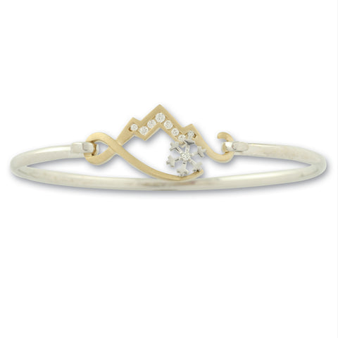 14K Gold wire bracelet with diamond mountain and diamond snowflake mountain bracelet snowflake jewelry mountain jewelry