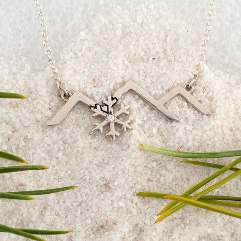 mountain necklace with snowflake sterling silver mountain necklace mountain jewelry