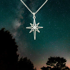 Diamond North star necklace - 14K white gold and diamond star pendant star jewelry sky jewelry