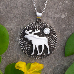 sterling silver moose disk necklace with crystal moose necklace moose jewelry wild life necklace