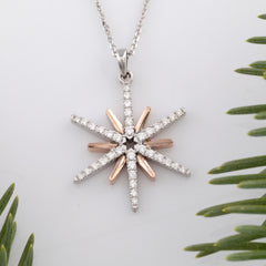 gold and rose gold diamond star necklace - star jewelry -star necklace - star pendant - Sky jewelry