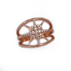 sunburst diamond ring in rose gold