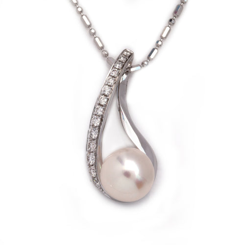 Fresh water pearl and diamond necklace 14K white gold pearl pendant