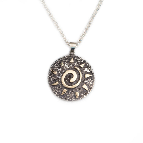 Sun spiral pendant necklace sterling silver disk 10K yg rays