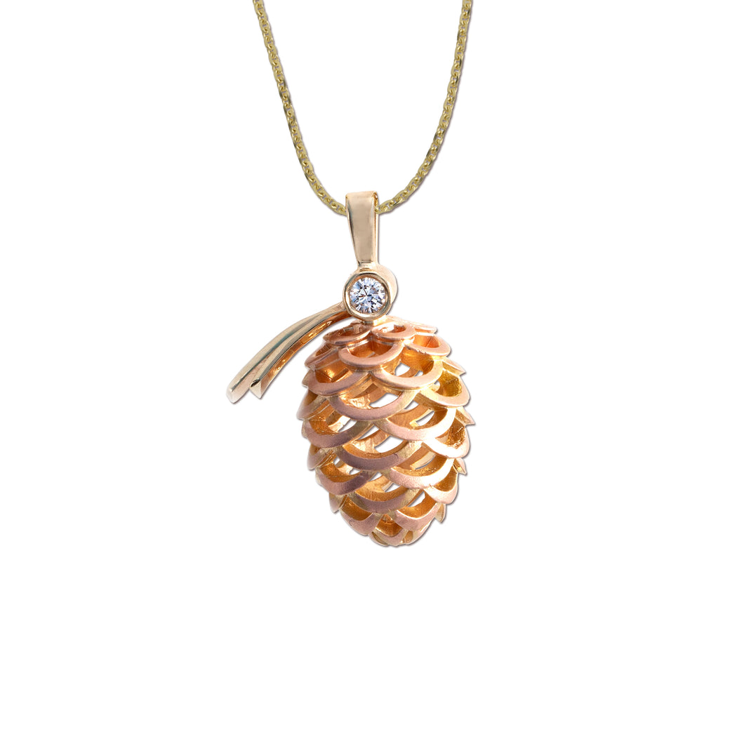 Gold and diamond pine cone necklace nature jewelry