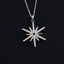 Load image into Gallery viewer, 14K white and rose gold star necklace with diamonds - diamond star pendant star jewelry sky jewelry