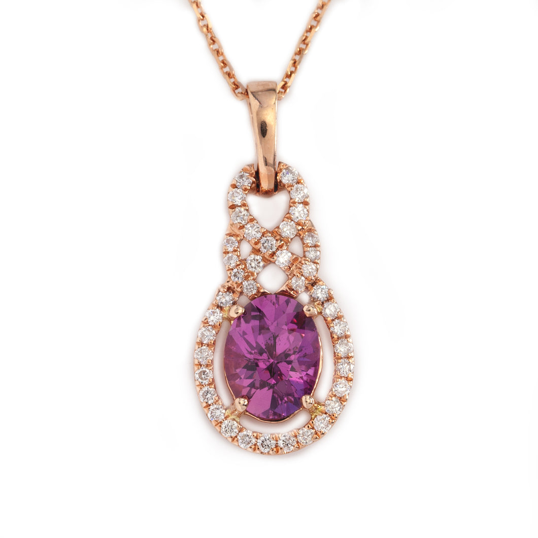 pink sapphire and diamond necklace in rose gold colored gemstone jewelry