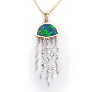 boulder opal inlay jelly fish with diamonds in 14K TT gold