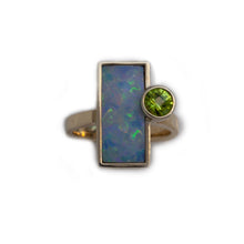 Load image into Gallery viewer, Opal doublet inlay ring with peridot in 14K TT gold