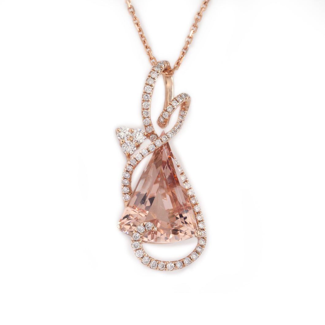 Morganite and Diamond Necklace in 14K Rose Gold