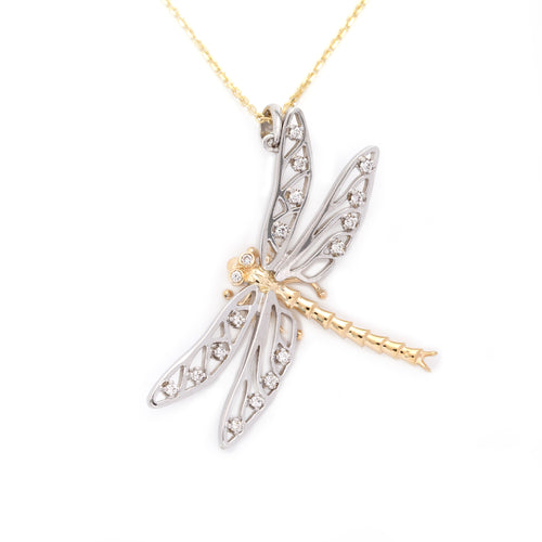 Dragonfly pendant pin 14K TT gold diamonds