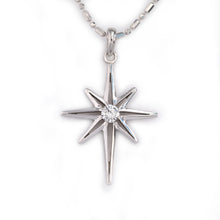 Load image into Gallery viewer, north star diamond pendant necklace 14K WG diamond