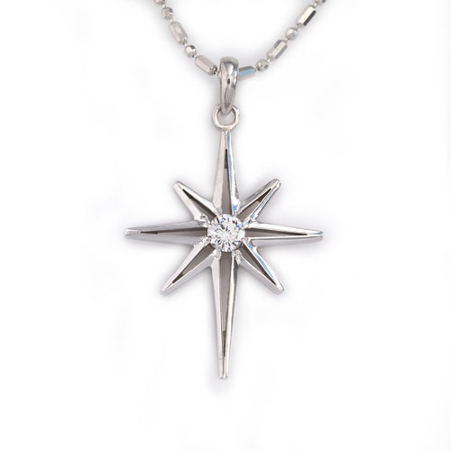 north star diamond pendant necklace 14K WG diamond