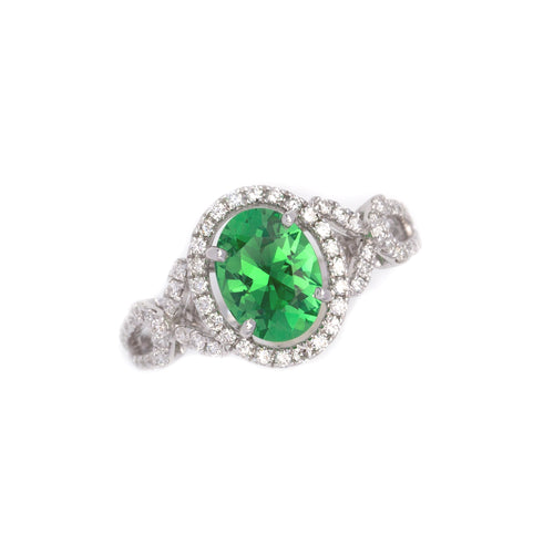 Tsavorite Garnet Ring with Diamonds in 14K white gold