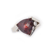 Load image into Gallery viewer, Red garnet trillion ring with diamond 14K WG
