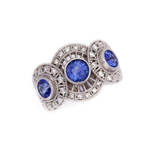 Load image into Gallery viewer, Diamond and Sapphire Ring 14K YG