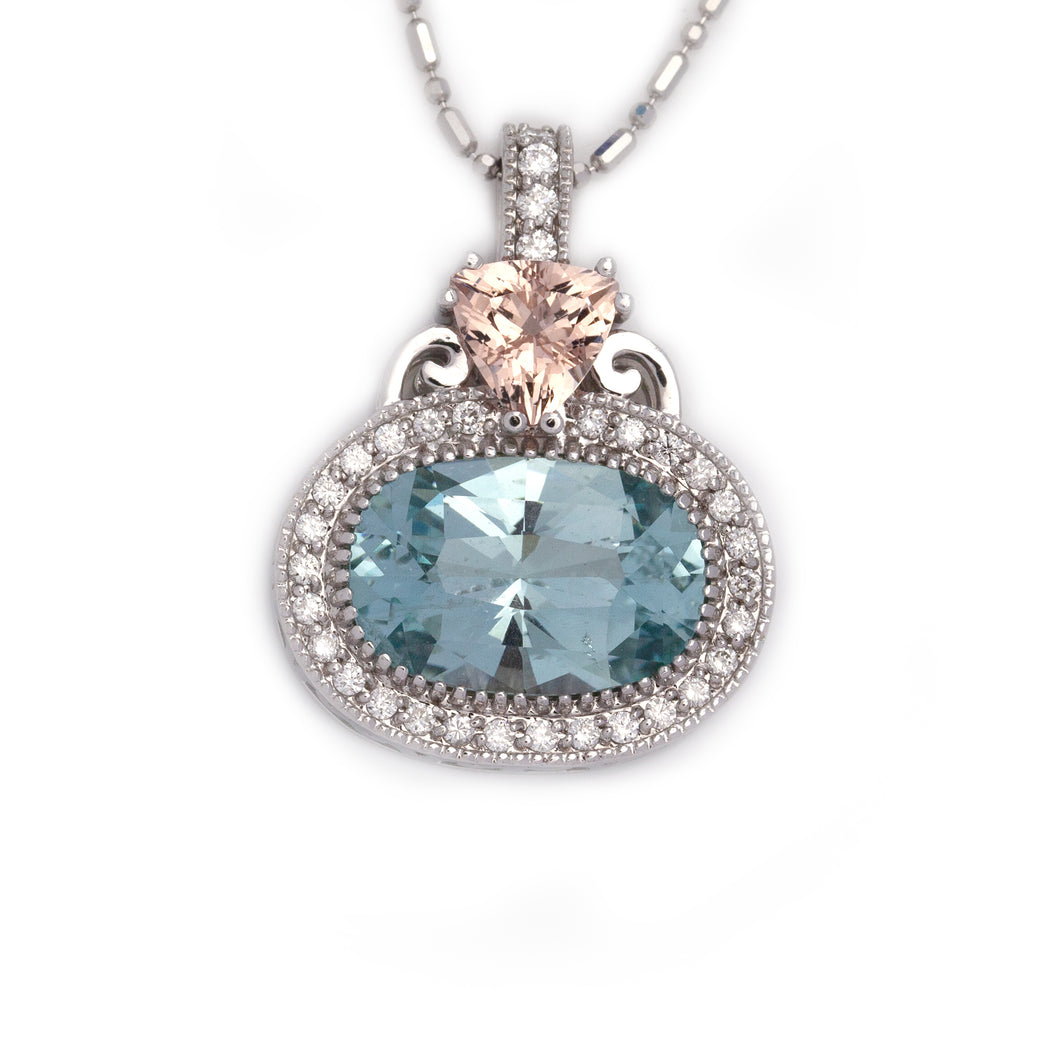 Aquamarine Morganite Diamond Necklace in 14K White Gold