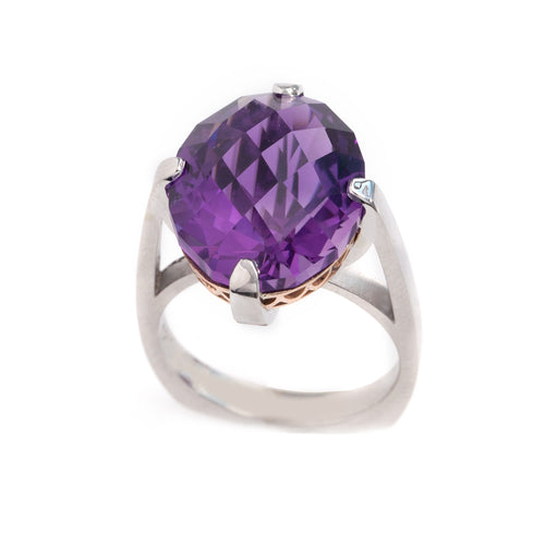 brazilian diamond checker cut oval amethyst ring in 14K white and rose gold