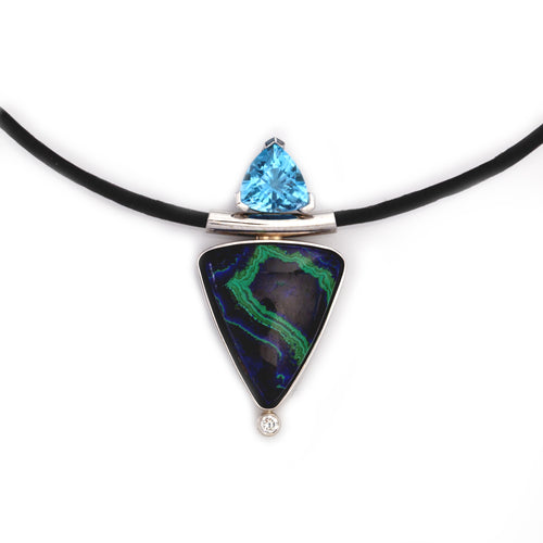 Malachite Azurite Blue Topaz Diamond Necklace