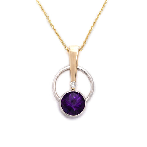 amethyst diamond pendant 14K TT gold diamond