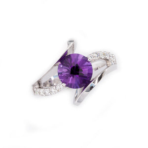 Amethyst diamond by pass ring 10 diamond amethyst 14K WG
