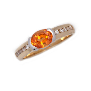 Spessartite Garnet Diamond Ring in 14K Yellow and White gold