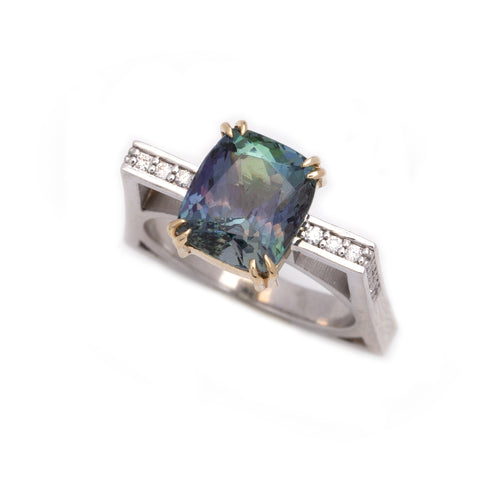 zoisite diamond ring 14K white and yellow gold
