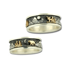 Load image into Gallery viewer, Mountain Ring with Moose Bear and Trees - 14K Gold or Sterling Silver