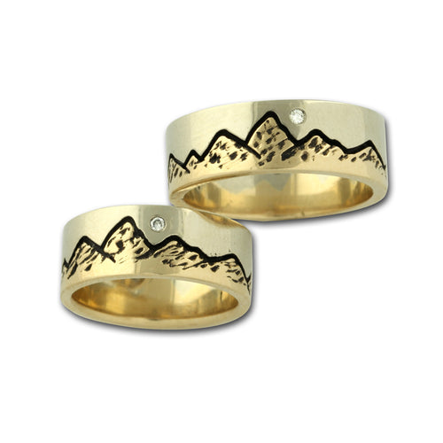 Mountain Ring 14K TT gold diamond