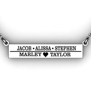 Mother's Name Necklace  with heart - Mom Necklace Family necklace