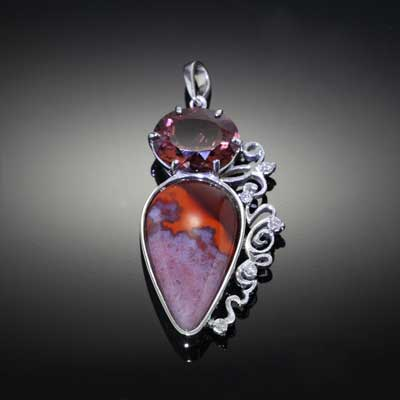 Agate and Brown Zircon Diamond Pendant - 14K White gold