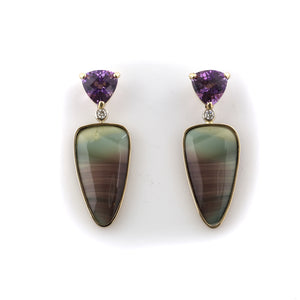 Jasper Inlay Amethyst Diamond Earrings - 14K YG