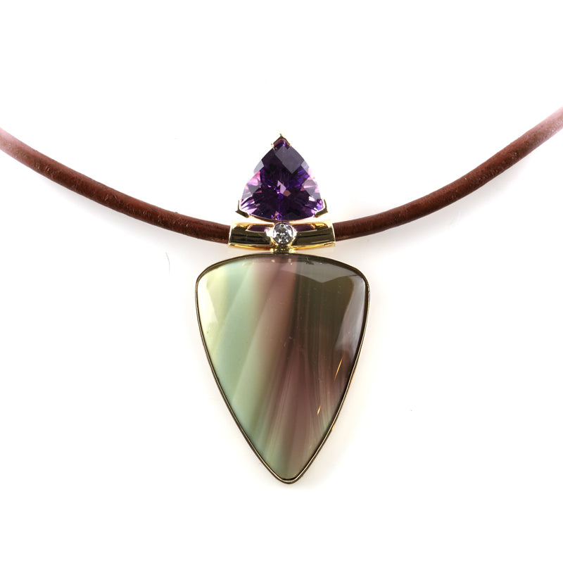 jasper inlay with trillion amethyst necklace 14K YG