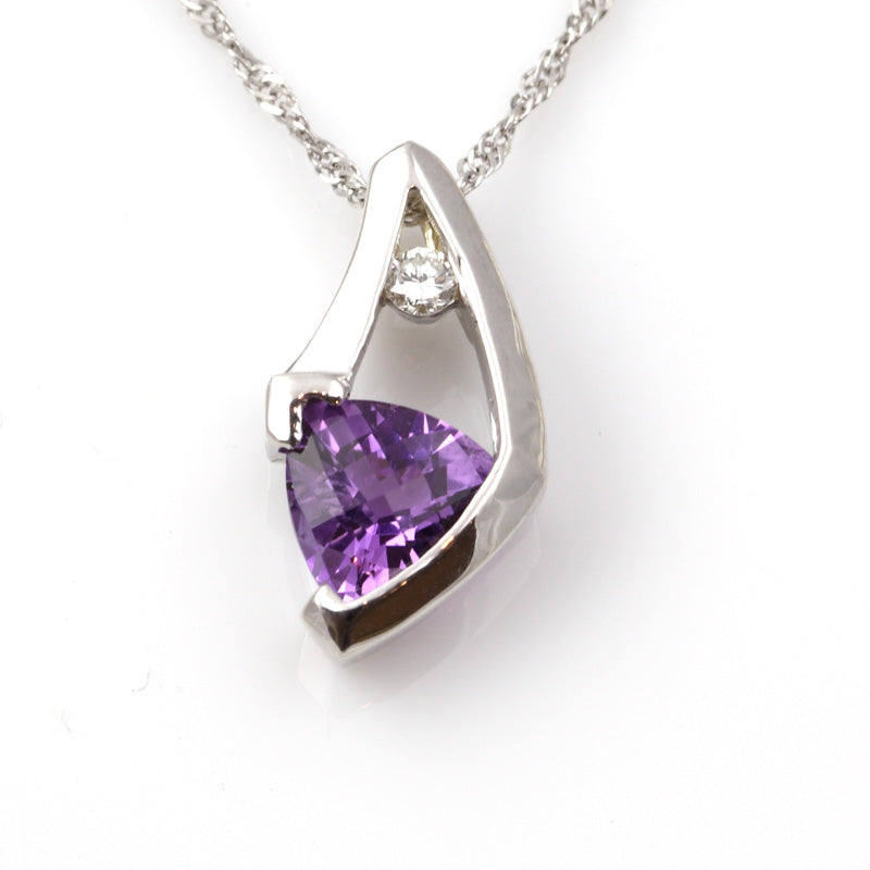 amethyst and diamond pendant 14K wg diamond trillion amethyst