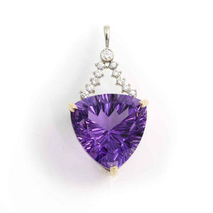 Amethyst and Diamond Pendant - 14K white and yellow gold