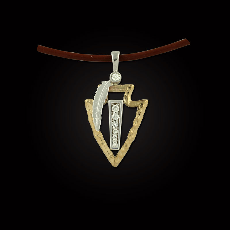 Arrowhead pendant necklace in 14K TT gold diamonds