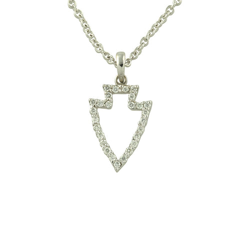 pave diamond arrowhead pendant silhouette 14K WG diamonds