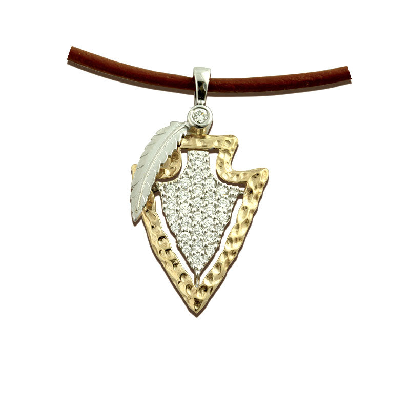 diamond pave arrowhead pendant 14K TT gold pave arrow